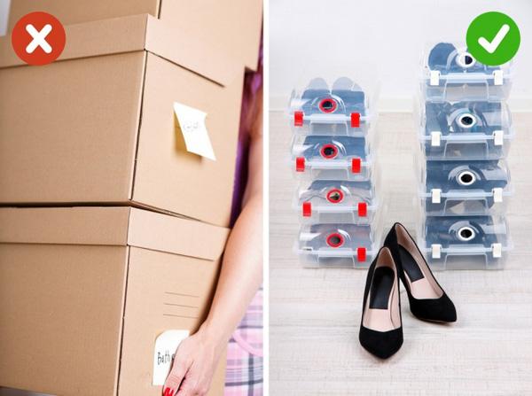 Sử dụng hộp đựng giày cho nhà cửa ngăn nắp