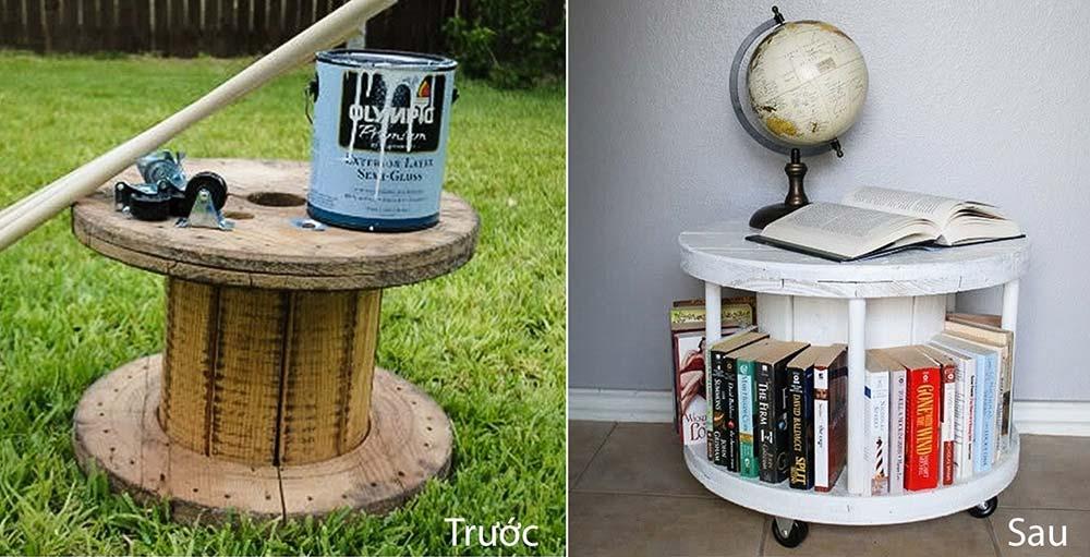 Kệ để sách được tái chế từ lõi gỗ cuộn dây điện