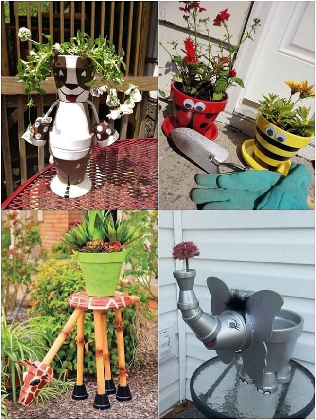 phụ kiện trang trí sân vườn làm bằng chậu hoa vui vẻ