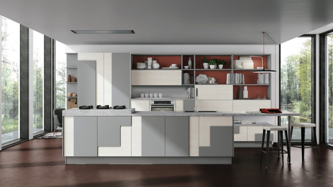 màu đỏ gạch trong thiết kế phòng bếp nữa nhé.