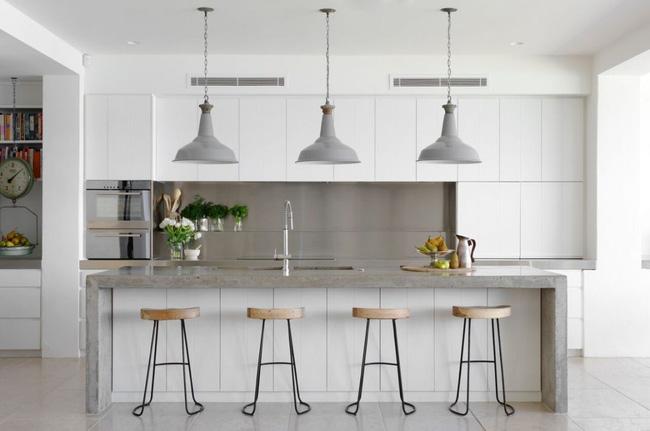 Thiết kế phòng bếp - Mặt đảo bếp được ốp bằng chất liệu đá cẩm thạch