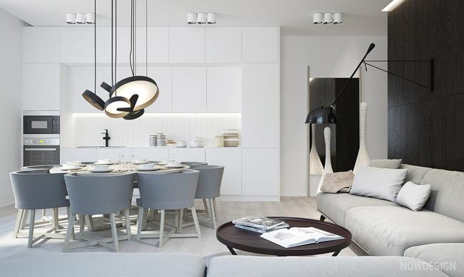 không gian bếp màu xám