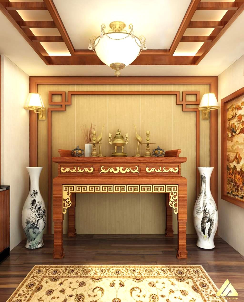 mẫu thiết kế phòng thờ đẹp và trang trọng 1