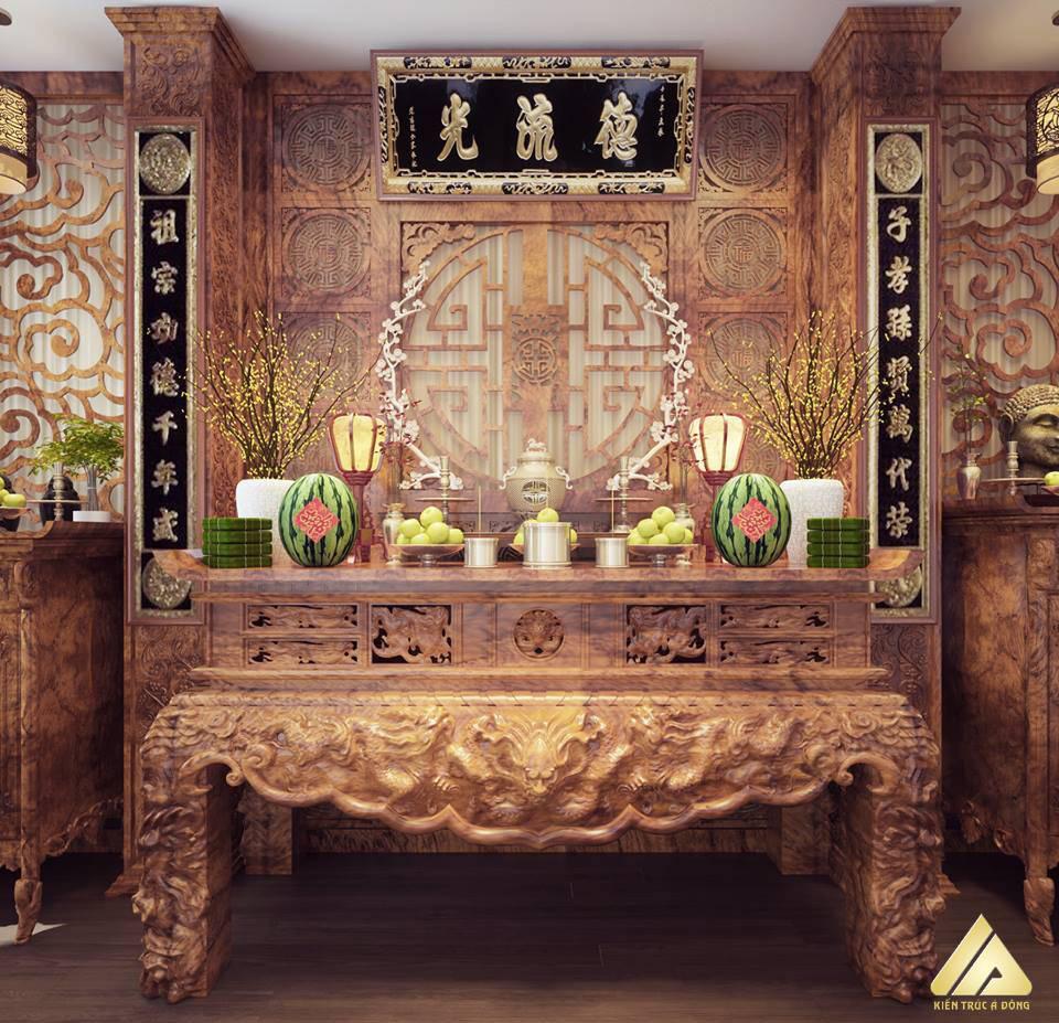 mẫu thiết kế phòng thờ đẹp và trang trọng 8