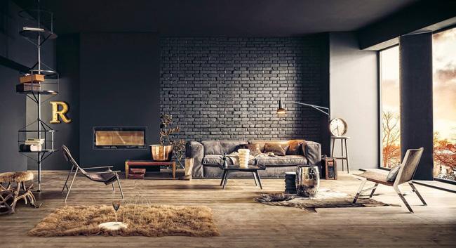 Mẫu phòng khách đẹp đến khó tả nhờ vào thiết kế tường gạch10