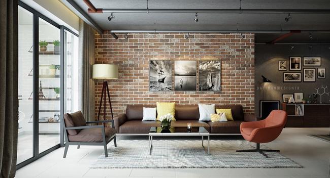 Mẫu phòng khách đẹp đến khó tả nhờ vào thiết kế tường gạch12