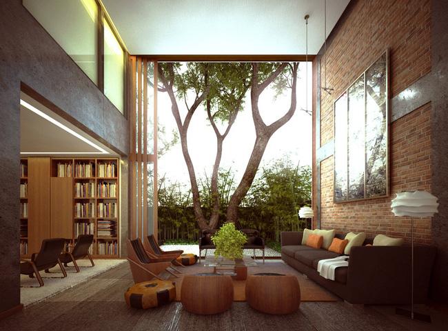 Mẫu phòng khách đẹp đến khó tả nhờ vào thiết kế tường gạch2