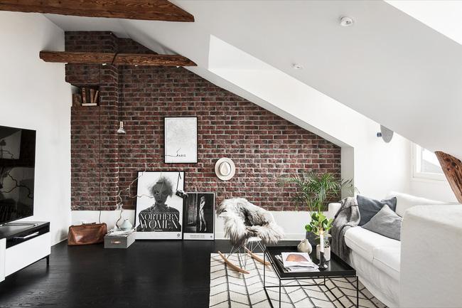 Mẫu phòng khách đẹp đến khó tả nhờ vào thiết kế tường gạch4