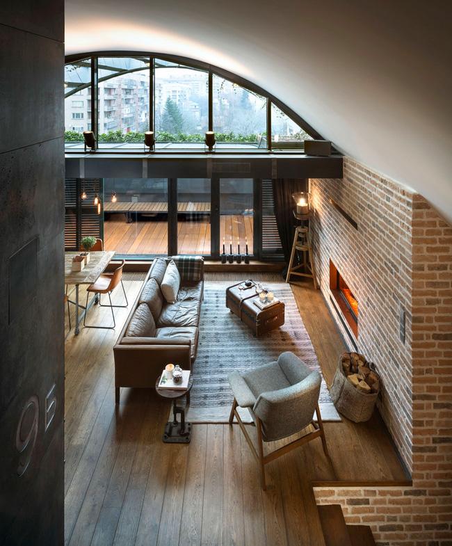 Mẫu phòng khách đẹp đến khó tả nhờ vào thiết kế tường gạch5