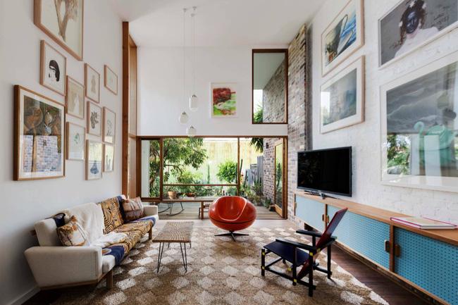Mẫu phòng khách đẹp đến khó tả nhờ vào thiết kế tường gạch6