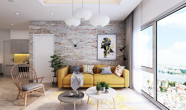 Mẫu phòng khách đẹp đến khó tả nhờ vào thiết kế tường gạch7