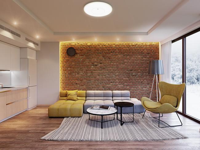 Mẫu phòng khách đẹp đến khó tả nhờ vào thiết kế tường gạch9
