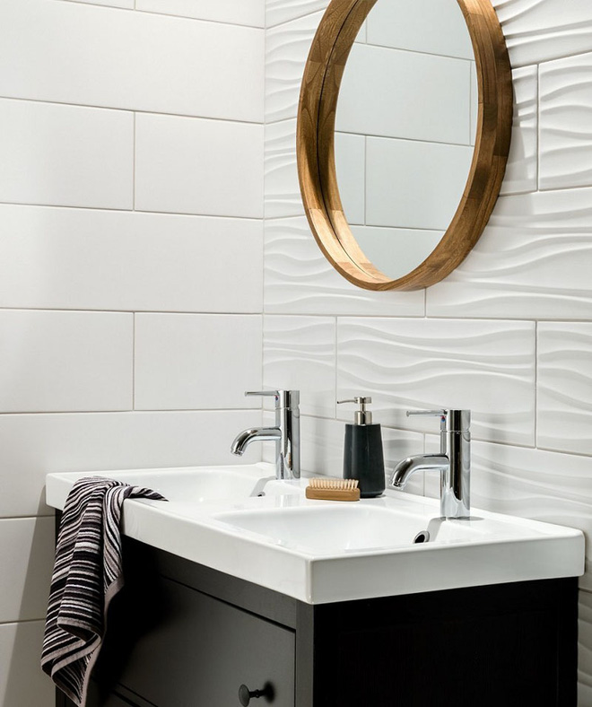 Sang chảnh vô cùng những không gian phòng tắm ốp gạch 3D_Ảnh 1