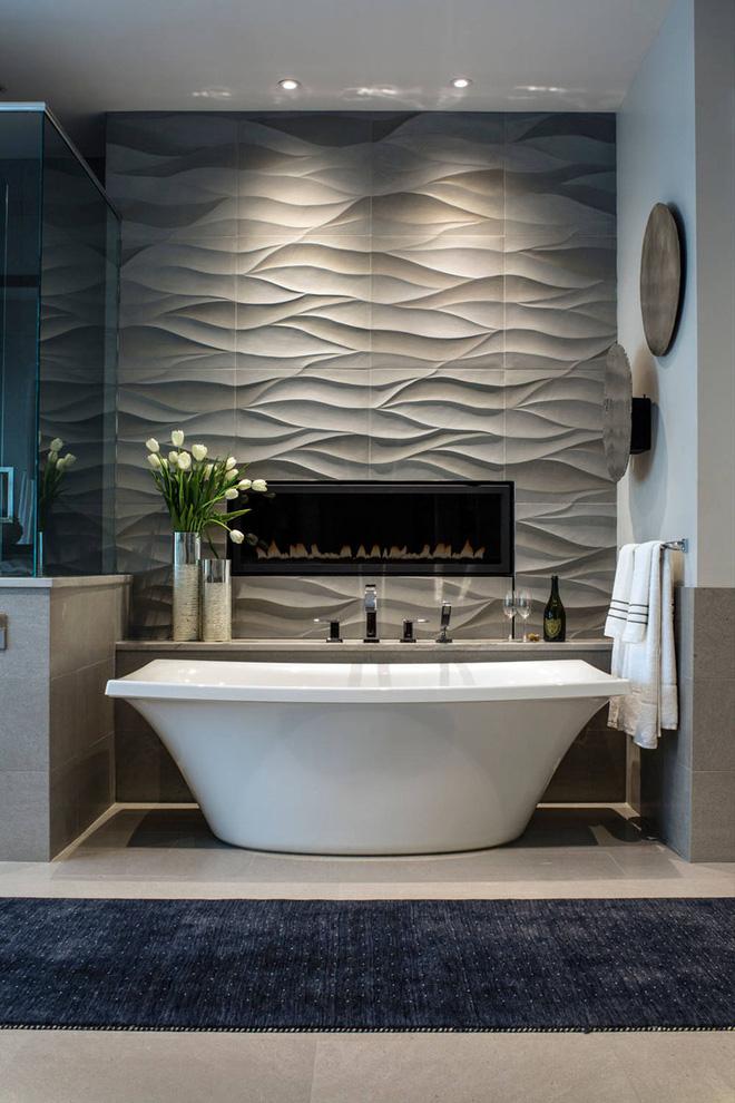 Sang chảnh vô cùng những không gian phòng tắm ốp gạch 3D_Ảnh 11