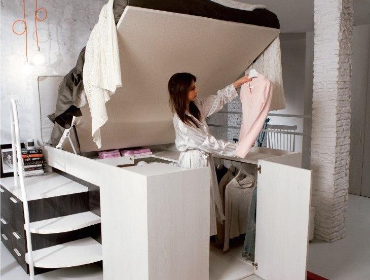 Tủ quần áo kết hợp giường ngủ thông minh
