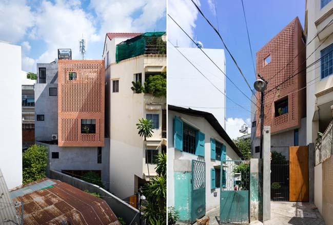 Thiết kế nhà phố 4 tầng với mặt tiền gạch đỏ ở Sài Gòn (1)
