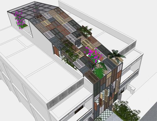 Nhà phố 60 m2 với những cánh cửa chớp sắc màu ở Sài Gòn (12)