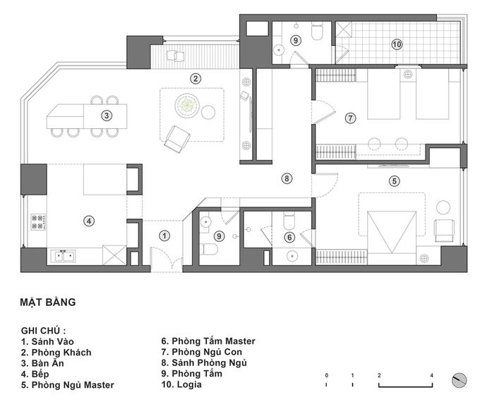 Không gian căn hộ 120 m2 quận Cầu Giấy Hà Nội (10)