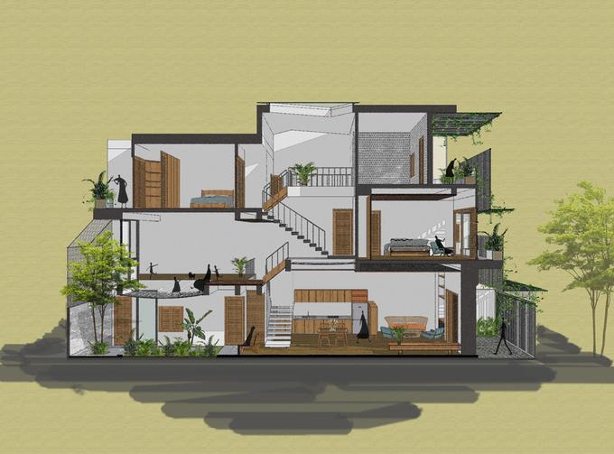 Nhà phố 3 tầng ở Nha Trang có mặt tiền dạng rèm che nắng bằng lưới thép (13)