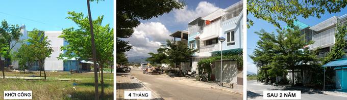 Nhà phố 3 tầng ở Nha Trang có mặt tiền dạng rèm che nắng bằng lưới thép (2)