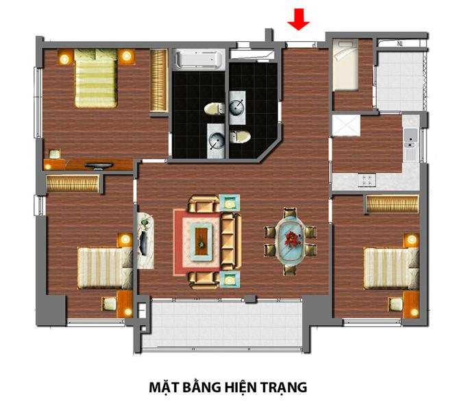 Nội thất căn hộ 3 phòng ngủ 120 m2 ở Cầu Giấy Hà Nội (13)