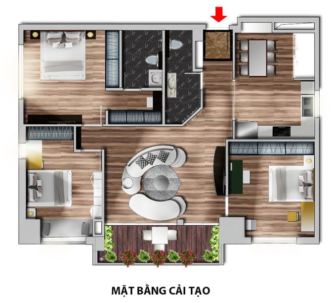 Nội thất căn hộ 3 phòng ngủ 120 m2 ở Cầu Giấy Hà Nội (14)
