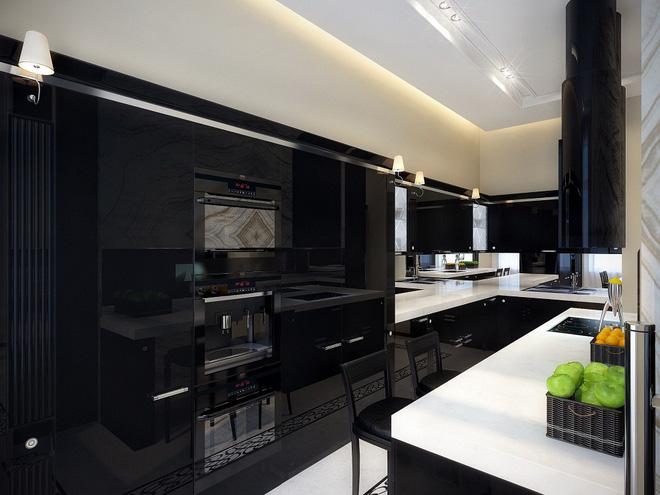 16 thiết kế phòng bếp đẹp với hai gam màu đen trắng (10)