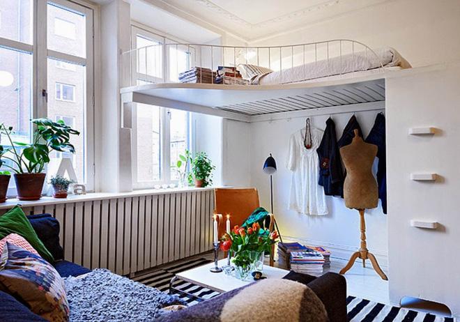 nhà gác lửng đẹp với đường uốn lượn đẹp mắt càng làm căn hộ nhỏ thêm xinh