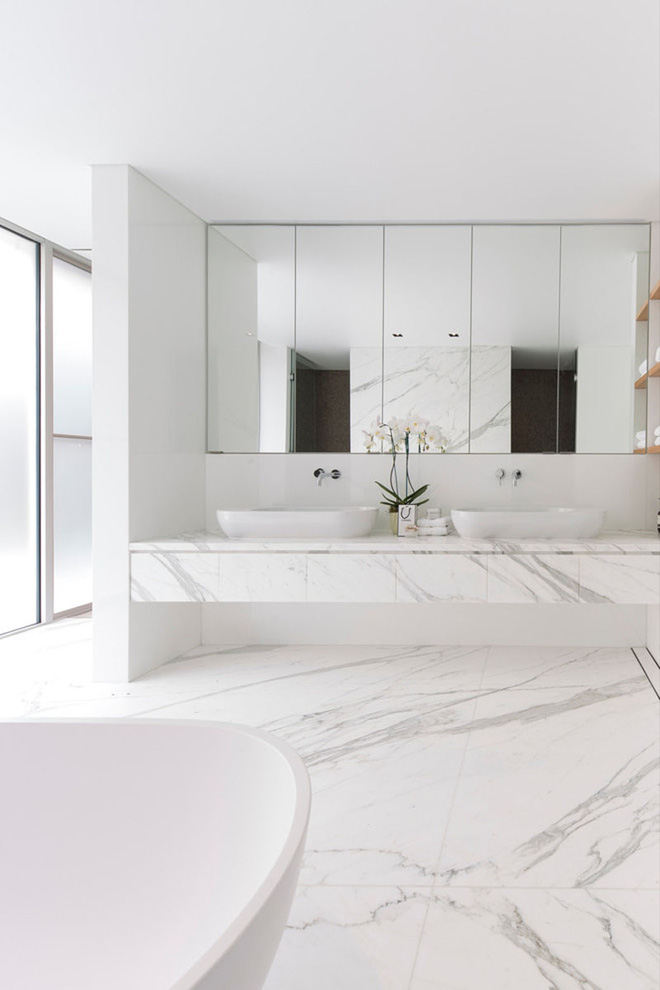 Trang trí phòng tắm sang chảnh hết nấc bằng đá cẩm thạch (4)