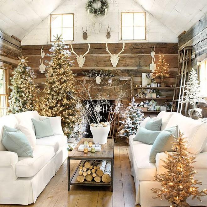 trang trí giáng sinh cho phòng khách với không chỉ một mà là nhiều cây thông với đèn lấp lánh