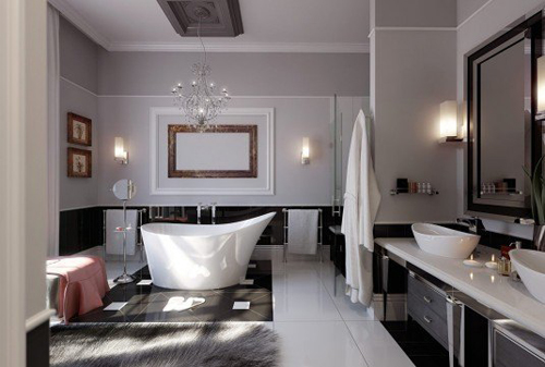 Không gian phòng tắm bội phần lộng lẫy nhờ đèn chùm - Nhà Đẹp Số (4)