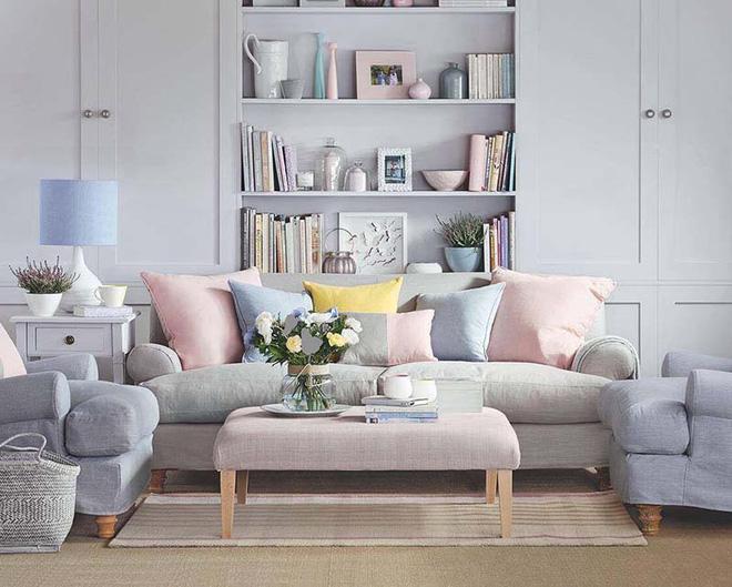 Không gian phòng khách đẹp mĩ mãn với sự hiện diện của gam màu pastel - Nhà Đẹp Số (5)