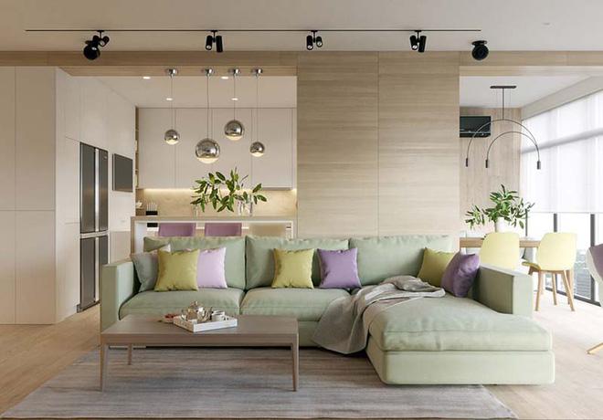 Không gian phòng khách đẹp mĩ mãn với sự hiện diện của gam màu pastel - Nhà Đẹp Số (8)