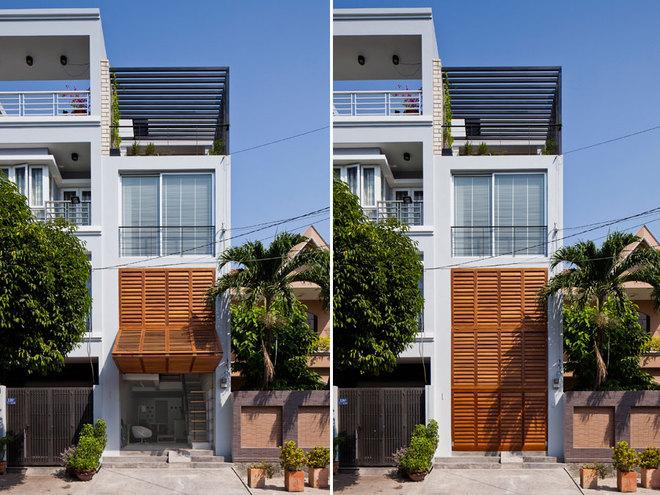 Mặt tiền cửa chớp giúp nhà ống đẹp quận 7 thông thoáng tối đa - Nhà Đẹp Số