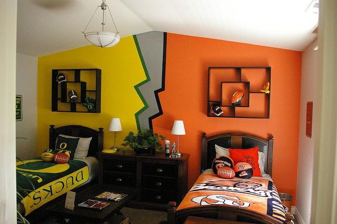 thiết kế phòng ngủ chung cho bé trai với ý tưởng đối xứng
