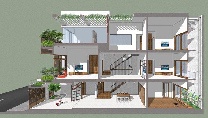 Ánh sáng tự nhiên ngập đầy nhà ống 3 tầng ở Phan Thiết - Nhà Đẹp Số (11)
