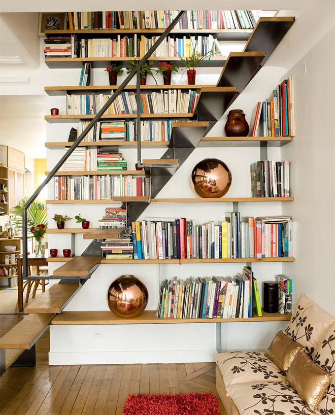 """Các thiết kế cầu thang tích hợp kệ sách dành riêng cho hội """"mọt sách"""" - Nhà Đẹp Số (7)"""
