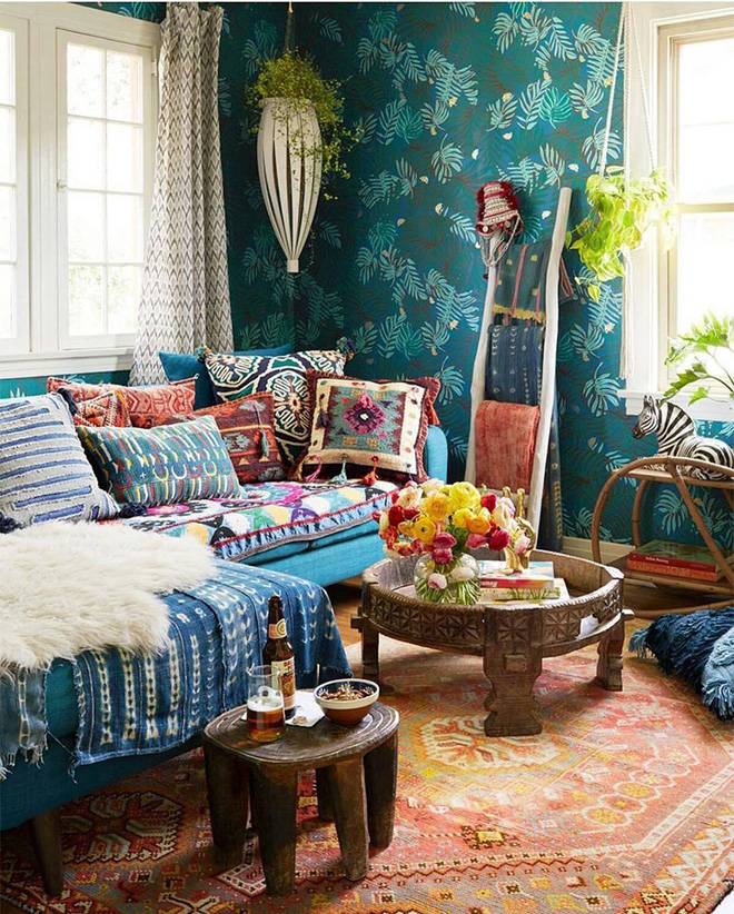 Những mẫu phòng khách mang phong cách Bohemian đẹp mê mẩn - Nhà Đẹp Số (1)