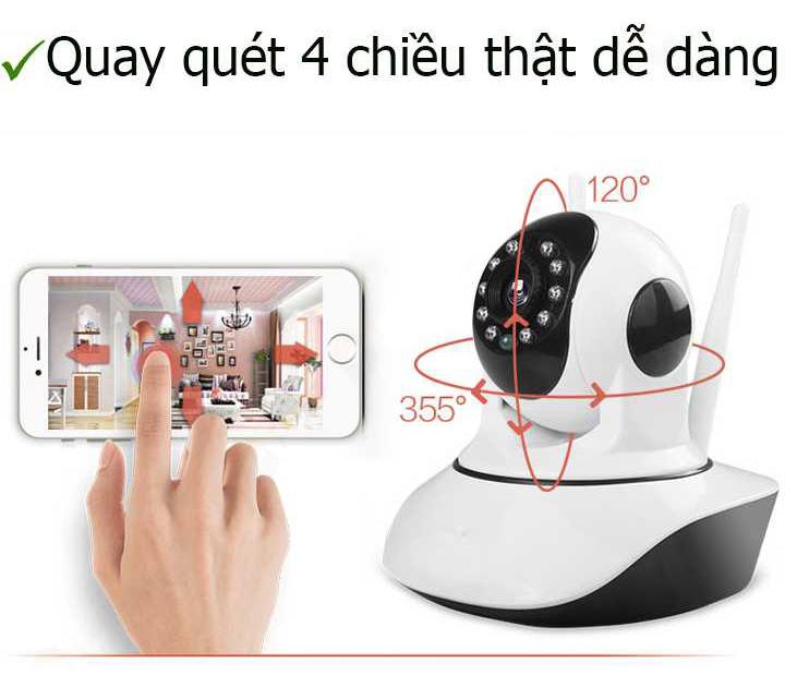 Khả năng quay quét với góc rộng của camera IP wifi không dây là ưu điểm vượt trội.