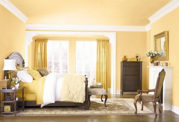 Màu vàng nhẹ nhàng là màu sơn phong thủy rất hợp với những người mệnh Kim