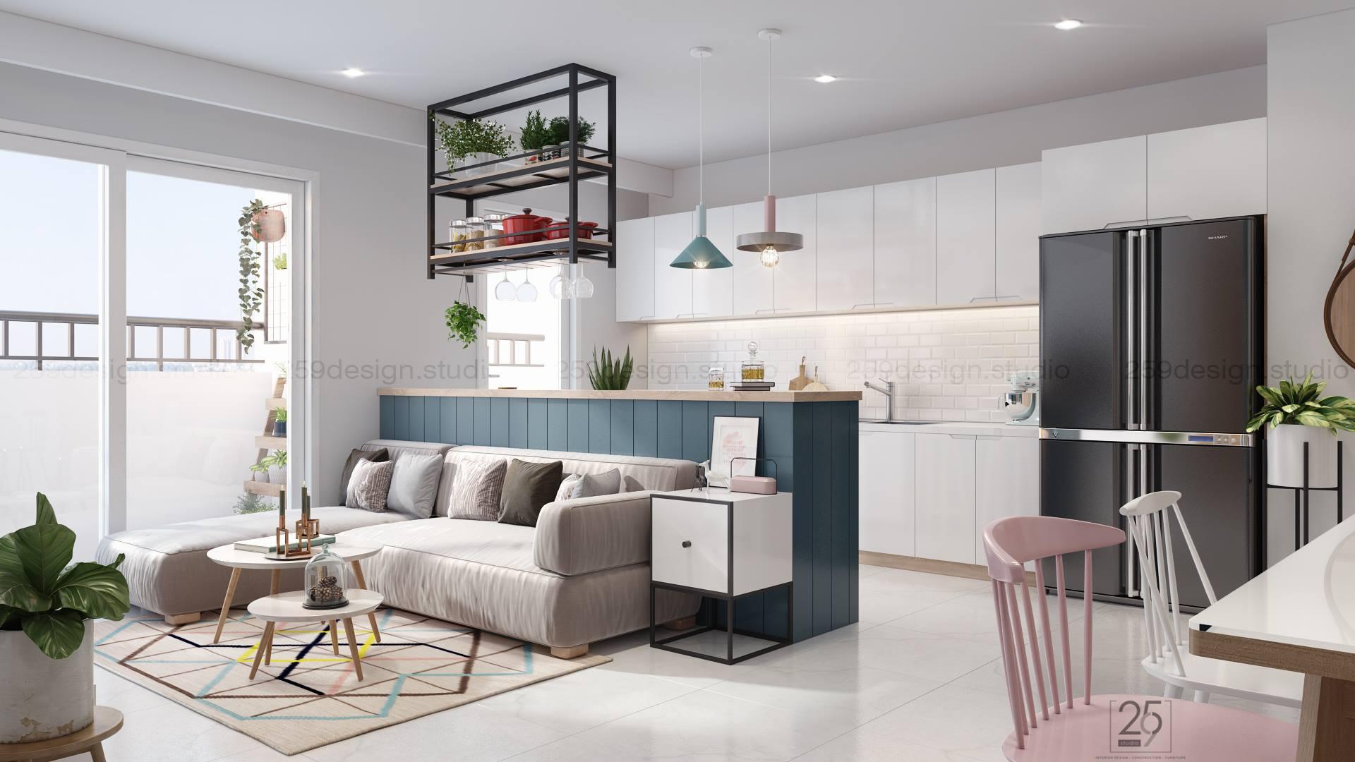 Mẫu thiết kế nội thất căn hộ đẹp với điểm nhấn màu pastel - Nhà Đẹp Số (1)