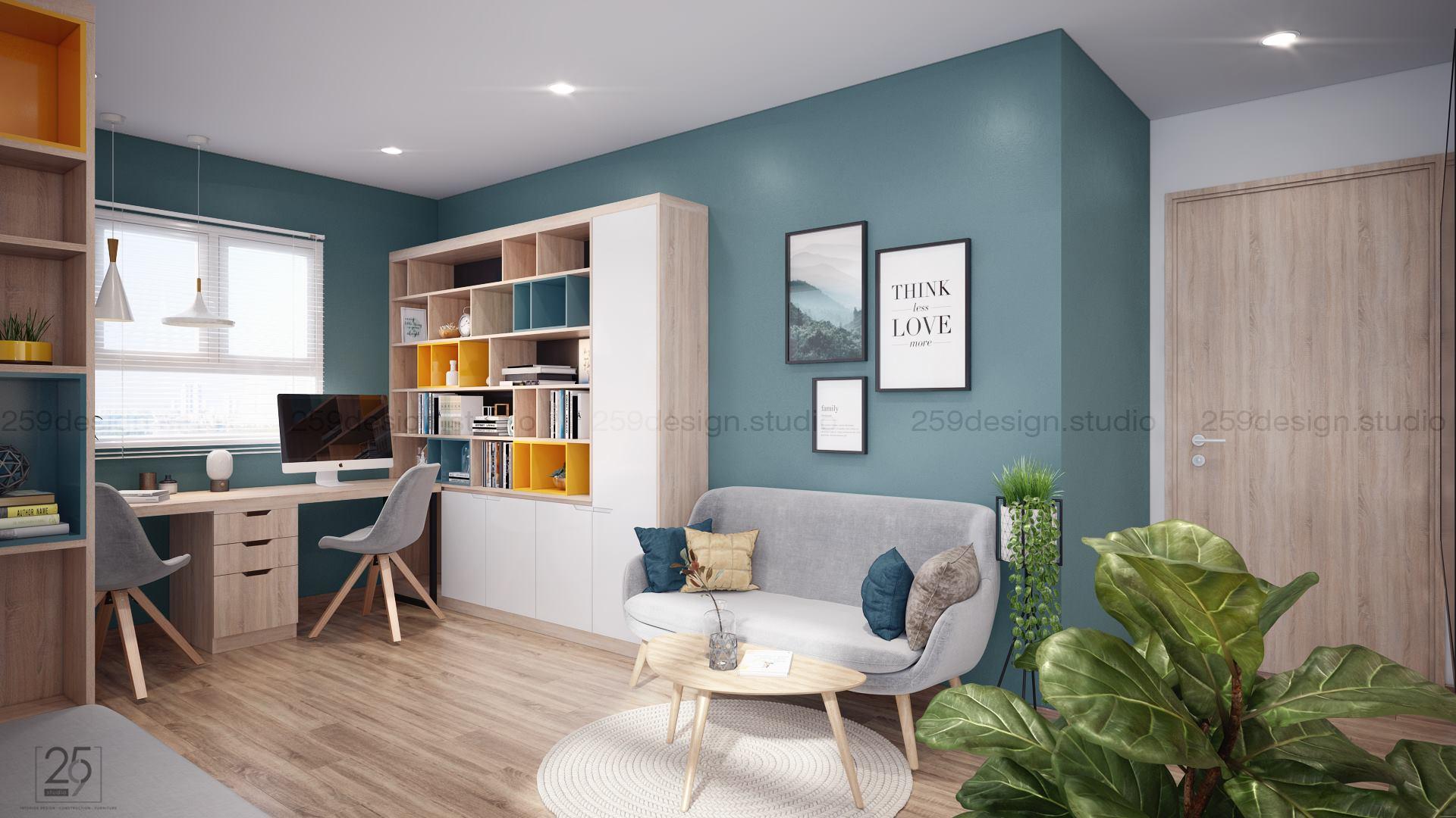 Mẫu thiết kế nội thất căn hộ đẹp với điểm nhấn màu pastel - Nhà Đẹp Số (11)