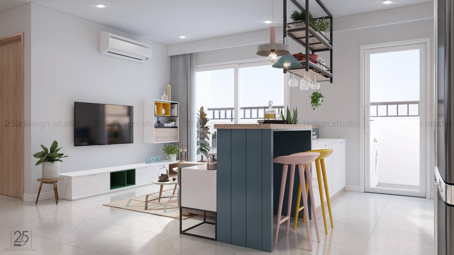 Mẫu thiết kế nội thất căn hộ đẹp với điểm nhấn màu pastel - Nhà Đẹp Số (4)