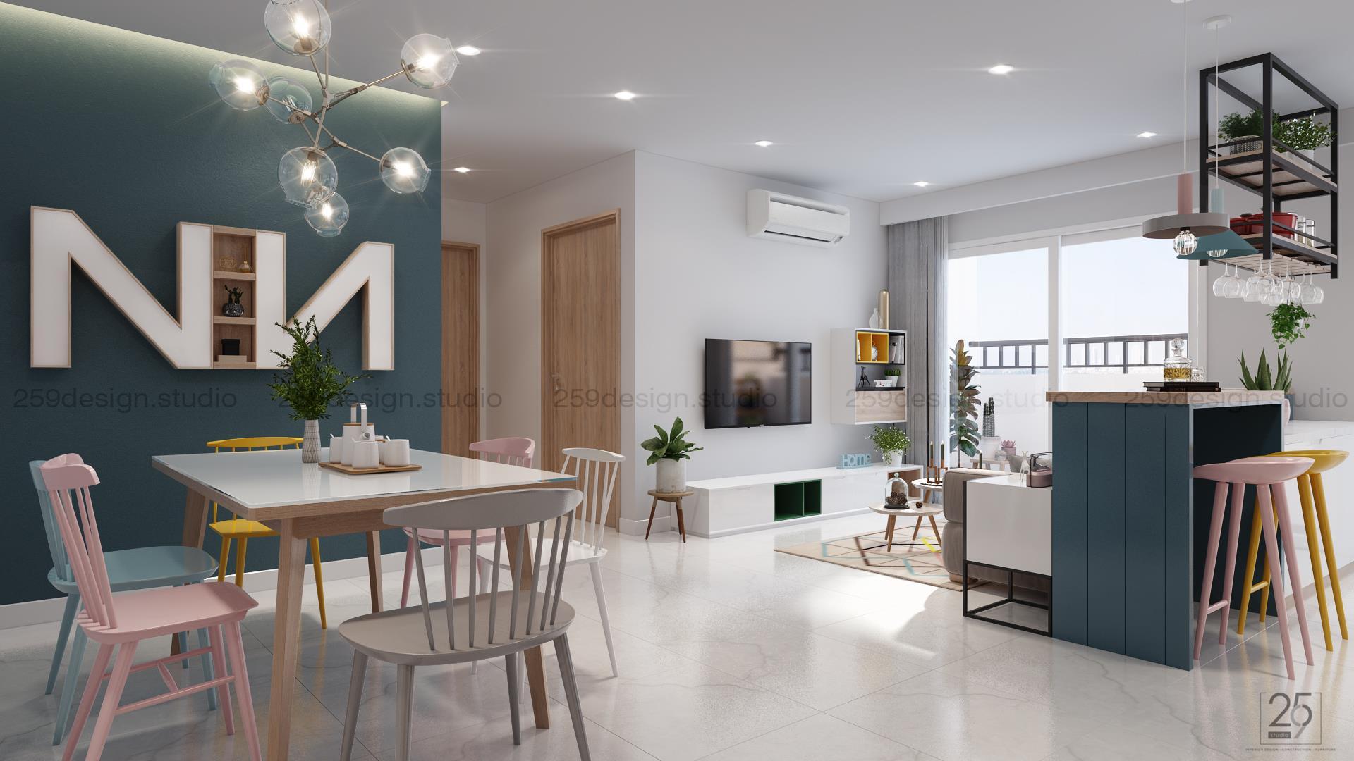 Mẫu thiết kế nội thất căn hộ đẹp với điểm nhấn màu pastel - Nhà Đẹp Số (7)