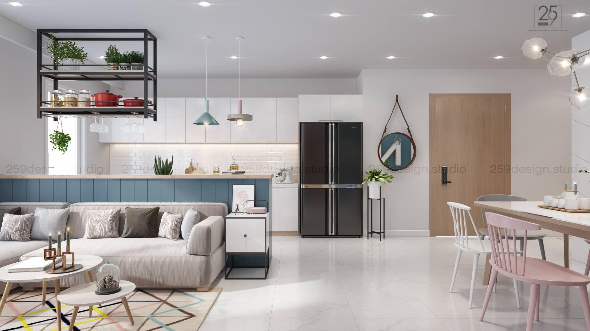 Mẫu thiết kế nội thất căn hộ đẹp với điểm nhấn màu pastel - Nhà Đẹp Số (8)