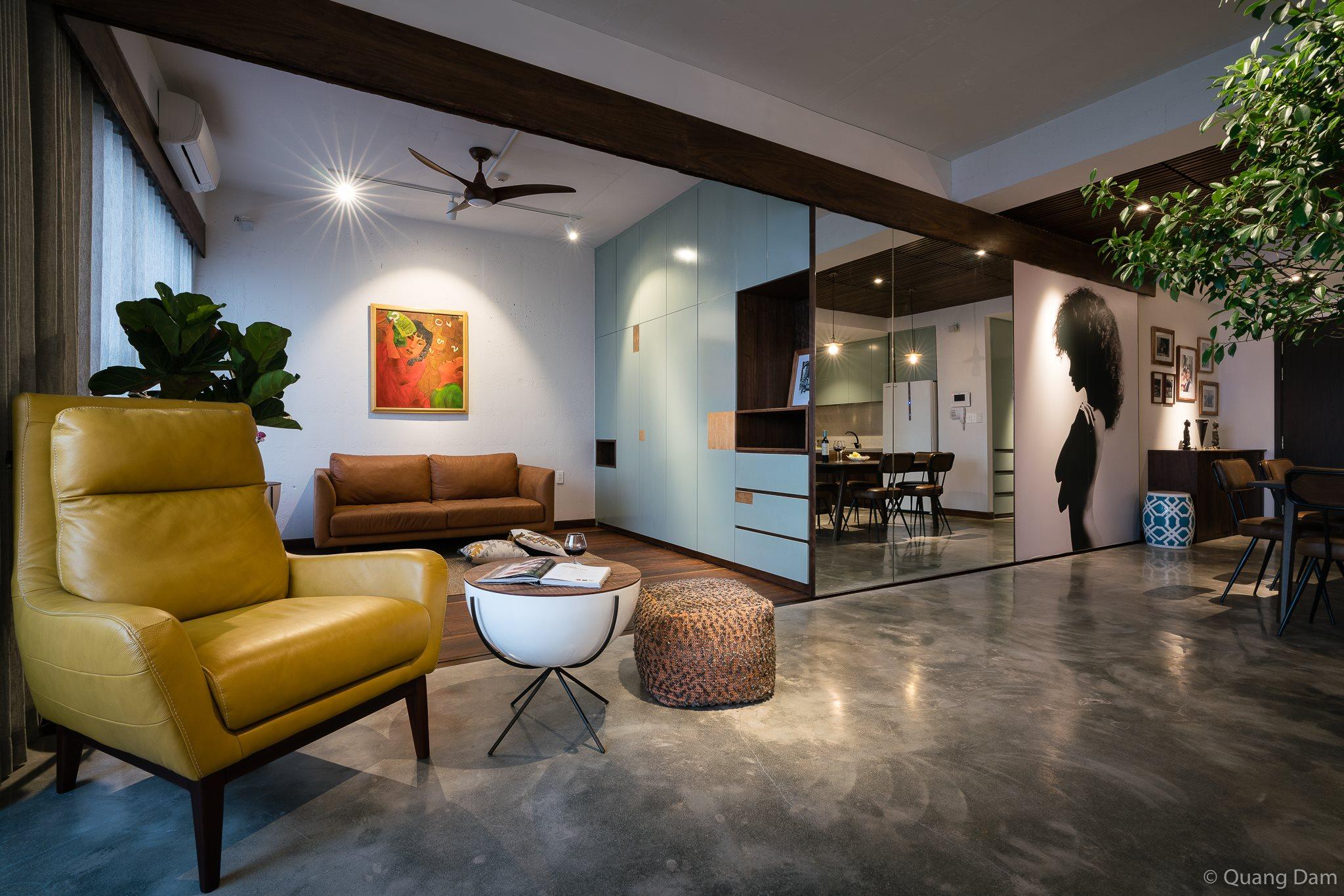 Nội thất căn hộ 1 phòng ngủ với điểm nhấn gỗ và cây xanh - Nhà Đẹp Số (5)