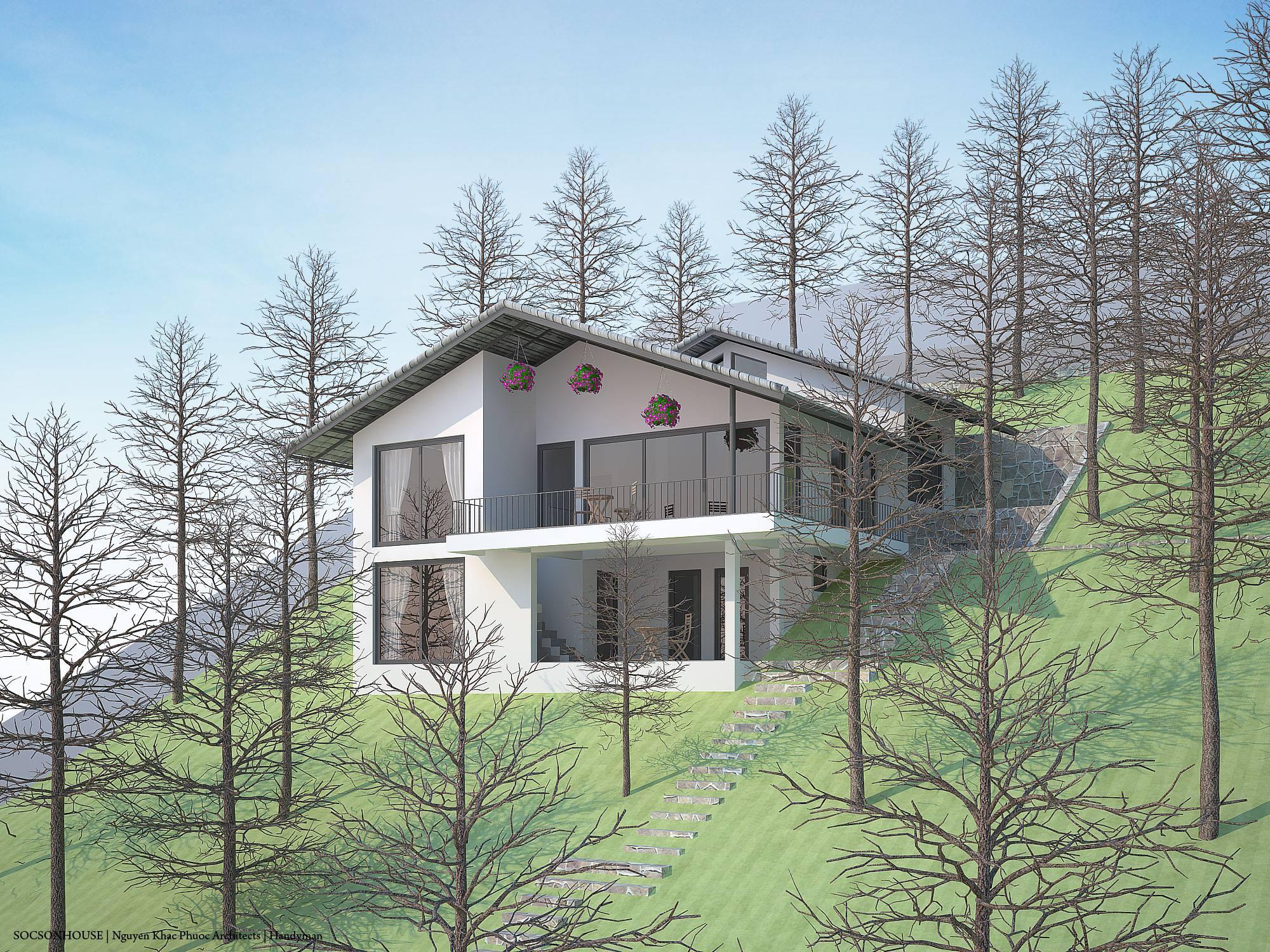 Thiết kế biệt thự đẹp mái chồng mái nằm lưng chừng núi ở Sóc Sơn - Nhà Đẹp Số (1)