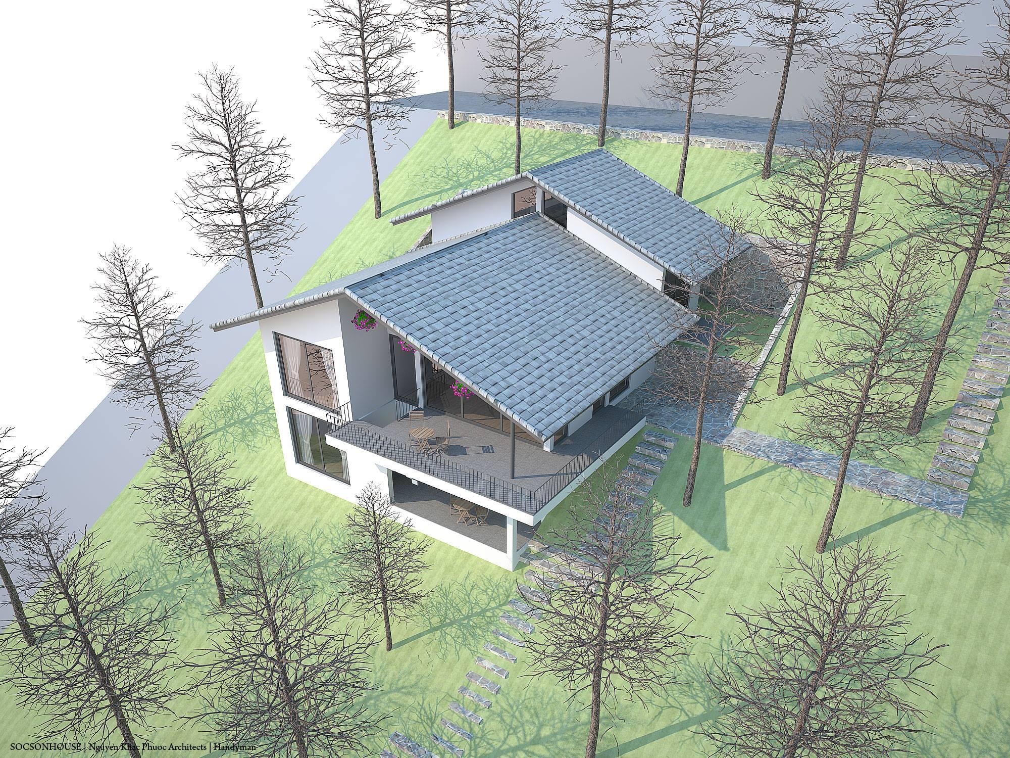 Thiết kế biệt thự đẹp mái chồng mái nằm lưng chừng núi ở Sóc Sơn - Nhà Đẹp Số (19)