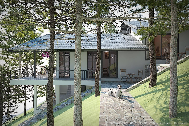 Thiết kế biệt thự đẹp mái chồng mái nằm lưng chừng núi ở Sóc Sơn - Nhà Đẹp Số (2)