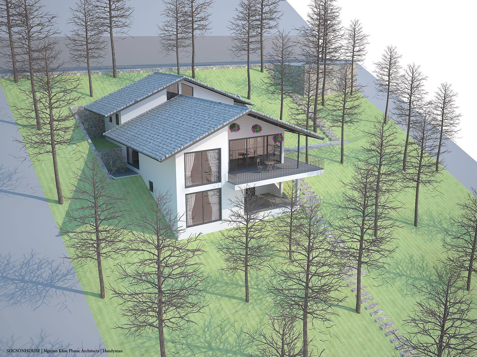 Thiết kế biệt thự đẹp mái chồng mái nằm lưng chừng núi ở Sóc Sơn - Nhà Đẹp Số (21)